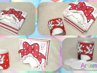Porta pañuelos y despachador de algodón de Minnie Mouse
