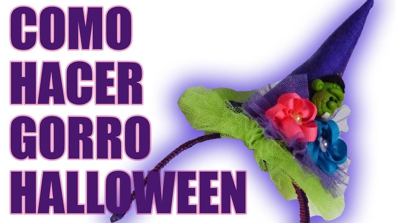 Sombrero de Fieltro  y tul para Disfraz, hallowen hat