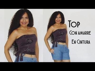TOP con Amarre en Cintura - Tutorial de SANDRA PADILLA
