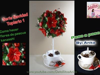 Topiario navideño 1 con flores de pascua Kanzashi