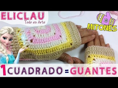 1 Cuadrado = Mitones. Guantes | A square = mittens. gloves | EliClau
