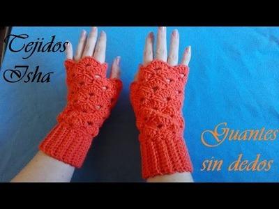 39.- Guantes a Crochet con punto elástico y abanicos