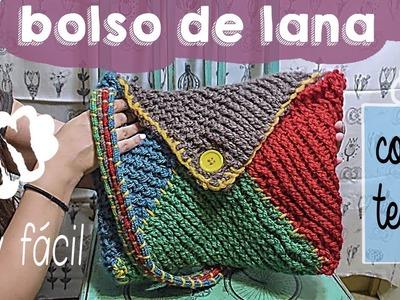 Bolso de lana con telar rectangular. Fácil‼️