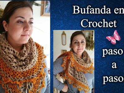 BUFANDA CUELLO Y CHALINA 3 en 1 en crochet PASO  A PASO 1 de 2