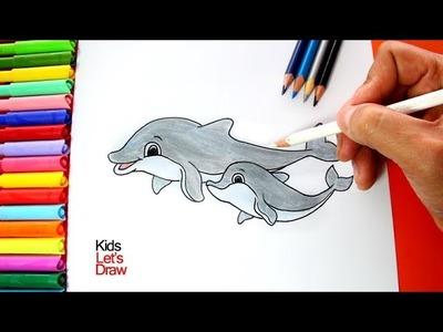 Cómo dibujar un Delfín con su cría bebé | How to draw a Dolphin