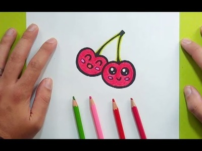 Como dibujar unas cerezas paso a paso 2   How to draw some cherries 2