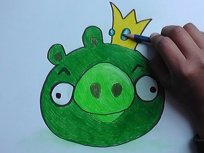 Como dibujar y pintar a Rey Cerdo ( Angry Birds) - How to draw and paint at King Pig