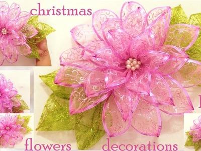 Como hacer fácil moños flores decoraciones adornos de Navidad.DIY chritsmas ideas