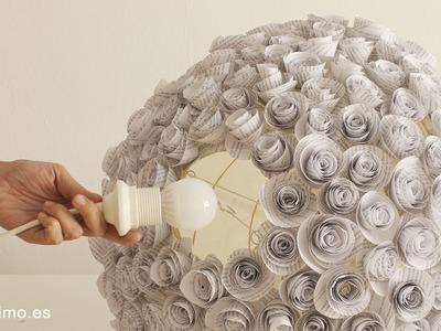 Cómo hacer lámpara de flores de papel recicladas