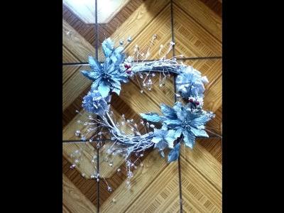 Corona Navideña invernal elegante ramas secas económica Elegant Winter Christmas wreath