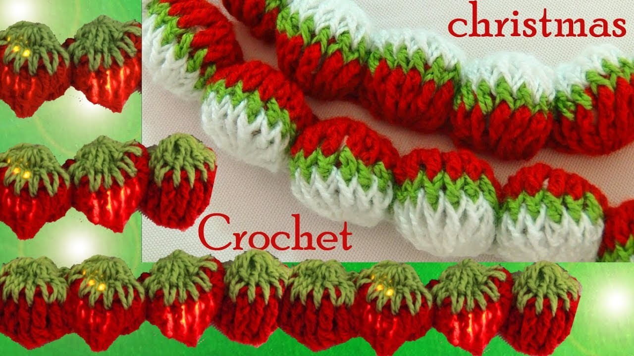 Crochet en punto 3D guirnaldas esferas fresas de una tira tejido tallermanualperu