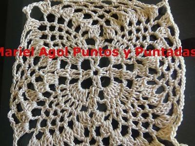 Cuadro (Granny square) de piñas sencillo a crochet, paso a paso