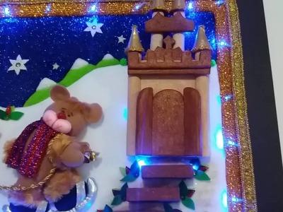 Cuadro navideño papa noel en patchwhork sin aguja. Artes y Manualudades Adrianacarillo