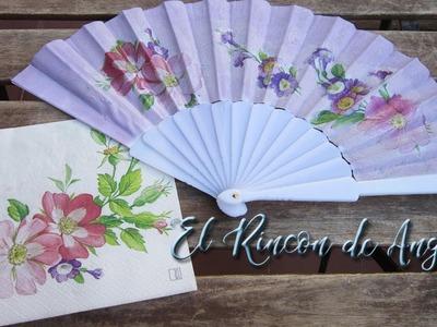 Decoupage sobre tela-Abanico de tela pintado y con decoupage-Diy Manualidades