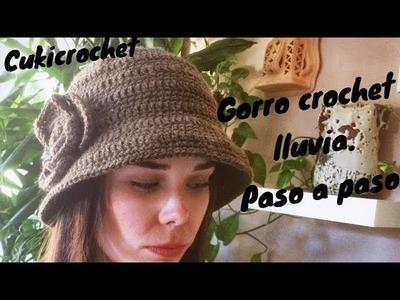 GORRO A CROCHET. GANCHILLO TIPO DE LLUVIA CON FLOR A UN LADO. PASO A PASO. FÁCIL