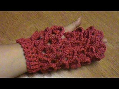 Guantes o mitones cocodrilo a crochet.