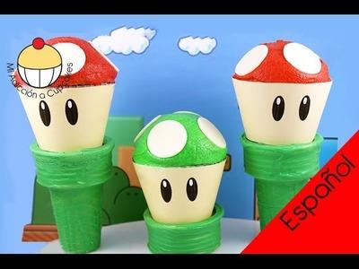 ¡Cupcakes de Súper Mario! ¡Haz un Cupcake del Hongo de Mario! MiAdiccionaCupcakes