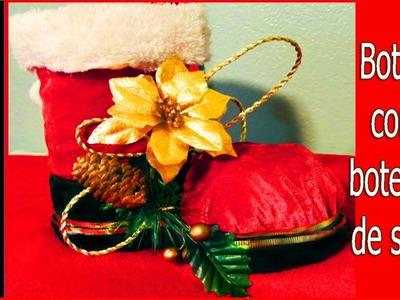Manualidades Navideñas-Bota de Santa con botella de soda