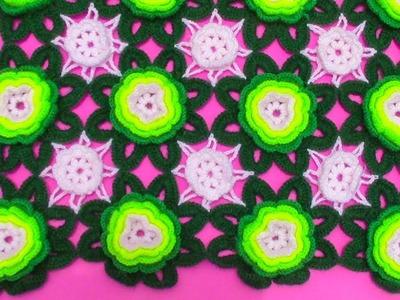 Motivos o pastillas de flores a crochet para tapetes y centros de mesa paso a paso en video tutorial