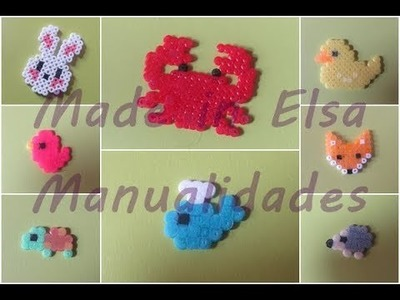 Ocho  charms de animales con hama beads mini