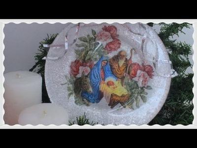 Plato con decoupage invertido y papel aluminio - Tutorial - DIY - Técnicas decorativas para navidad