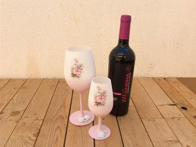Reciclar copas de vino con decoupage para decorar