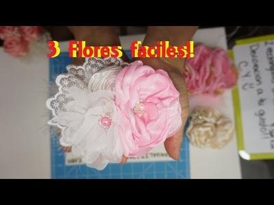 Tocado con tres flores faciles!✨ [75]