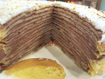 Torta de panqueques con crema pastelera de chocolate