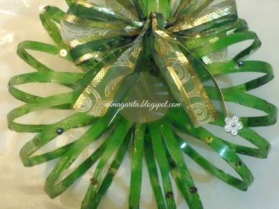Tutorial: Corona de Navidad (botella de plastico)