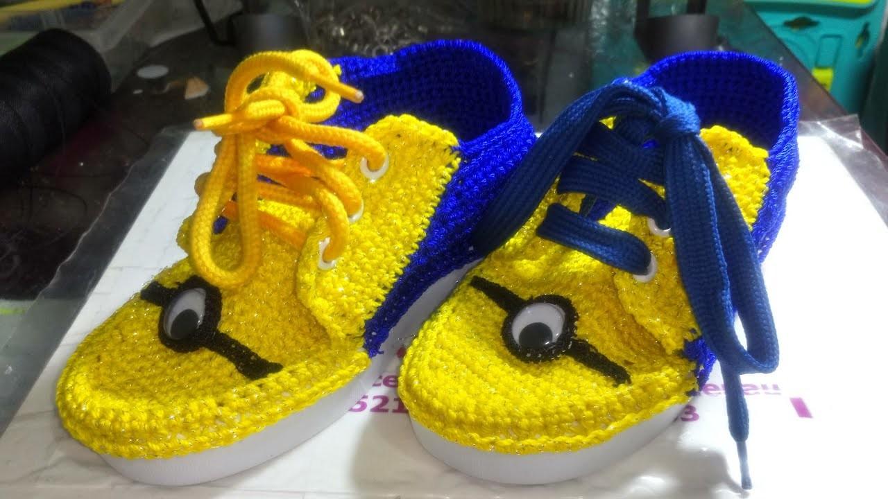 Zapatos tejidos a crochet modelo Minion  Zapatos de Minions. PASO A PASO