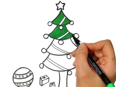 Árbol de Navidad o Árbol de Pino | Cómo dibujar y colorear paso a paso los para niños