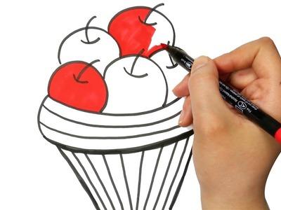 Cesta de la Manzana   Cómo dibujar y colorear paso a paso los para niños