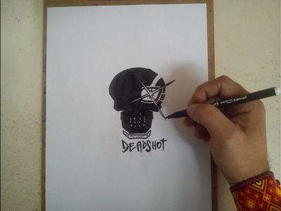 COMO DIBUJAR EL LOGO DE DEADSHOT - SUICIDE SQUAD. how to draw deadshot logo - suicide squad