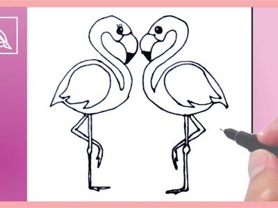 Cómo Dibujar Flamingos Enamorados - Drawing Flamingos In Love | Dibujando