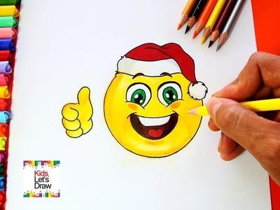 Cómo dibujar un Emoji de Navidad (emoticono navideño) | How to draw Emoji Christmas