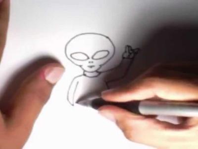 Como dibujar un Extraterrestre l How to draw an Alien