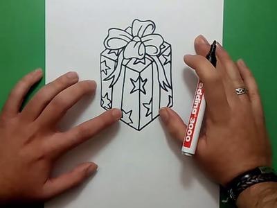 Como dibujar un regalo paso a paso | How to draw a gift