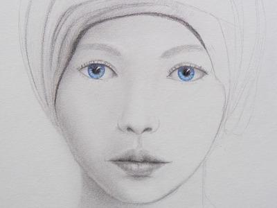 Cómo dibujar un rostro con ojos azules - Arte Divierte.