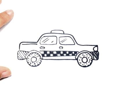 Como dibujar un Taxi paso a paso | Dibujo facil de Taxi