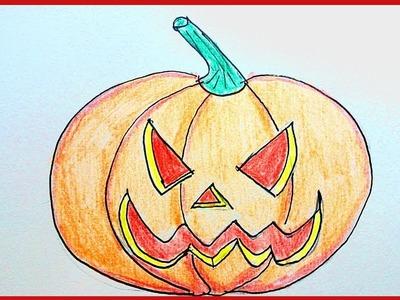 Como dibujar una calabaza de Halloween paso a paso y muy facil | How to draw a Halloween pumpkin st