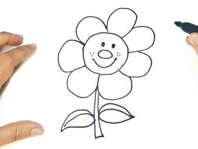 Cómo dibujar una Flor paso a paso | Dibujo fácil de Flor para niños