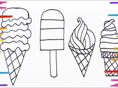 Cómo Dibujar y Colorear Helados - Arte y Colores Para Niños - Learn Colors. FunKeep