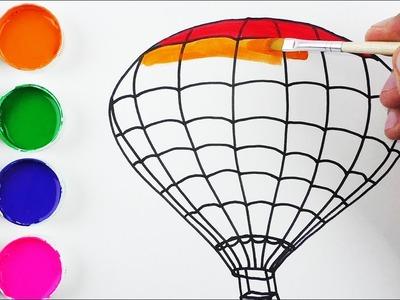 Cómo Dibujar y Colorear un Globo Aerostático de Arco Iris - Arte y Color Para Niños. FunKeep