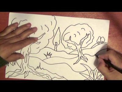 Como dibujar y colorear un paisaje 2  . Draw trees easily