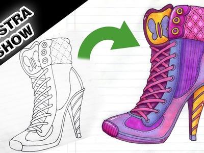 Como dibujar y colorear un ZAPATO de TACÓN ALTO zapatilla bota Tutorial ILUSTRA SHOW