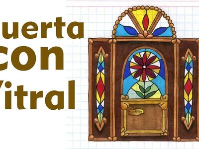 Como dibujar y colorear UNA PUERTA CON VITRALES Muebles Casa Tutorial ILUSTRA SHOW