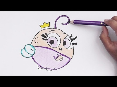 Como dibujar y pintar a Puuf (Padrinos Magicos) - How to draw and paint poof