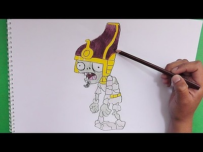 Como dibujar y pintar a Zombie Faraon (Plantas vs Zombies) - How to draw and paint a Zombie Faraon