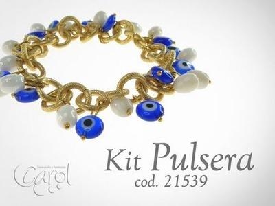 Como hacer pulseras con cadenas de aluminio y cuentas de vidrio. Kit 21539