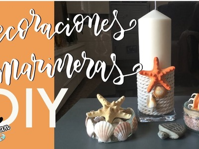 DIY Decoraciones marineras y playeras : velas y recipientes de cristal